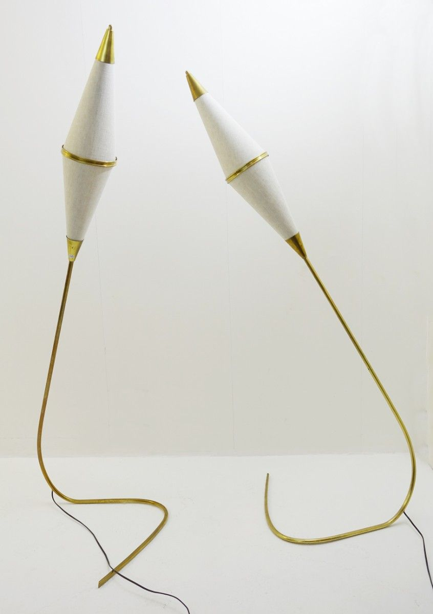 Vintage Stehlampen aus Messing, 2er Set