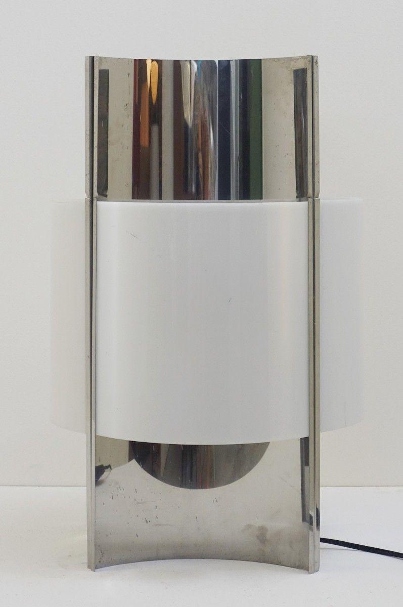 Vintage Tischlampe aus Chrom & Glasfaser
