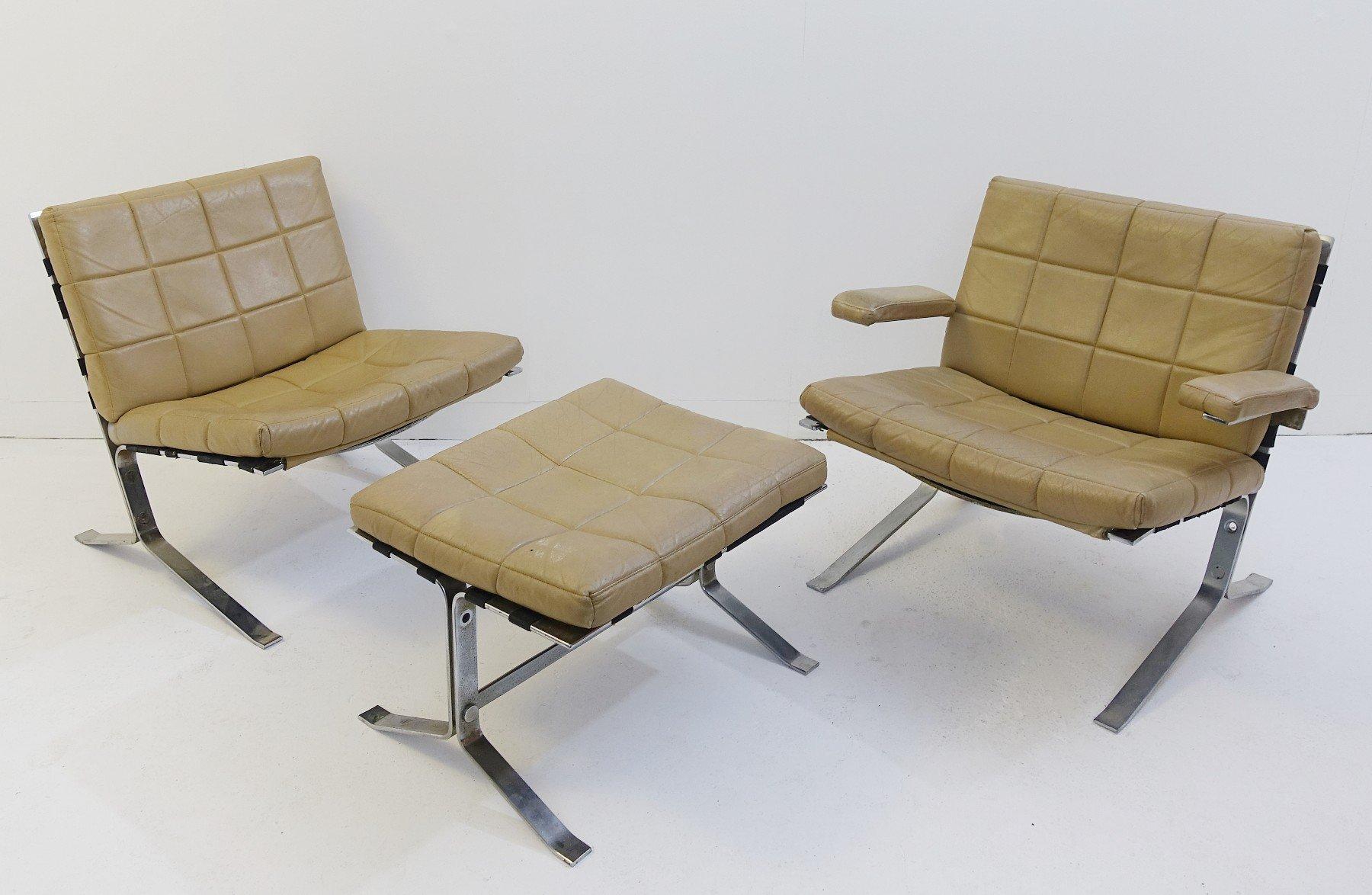 Vintage Sessel und Fußhocker