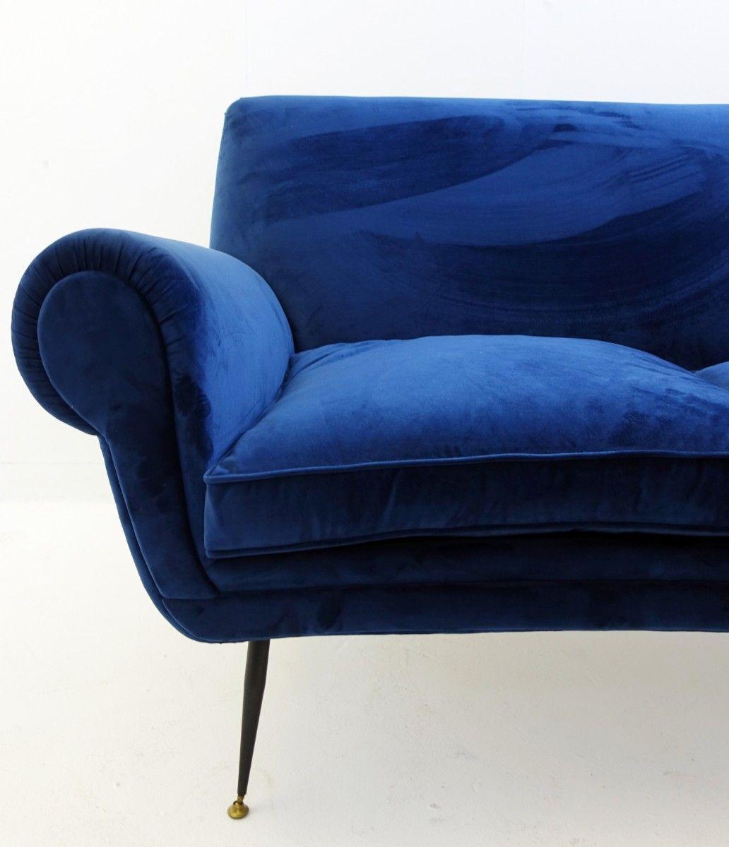 Vintage deep blue velvet sofa by gigi radice