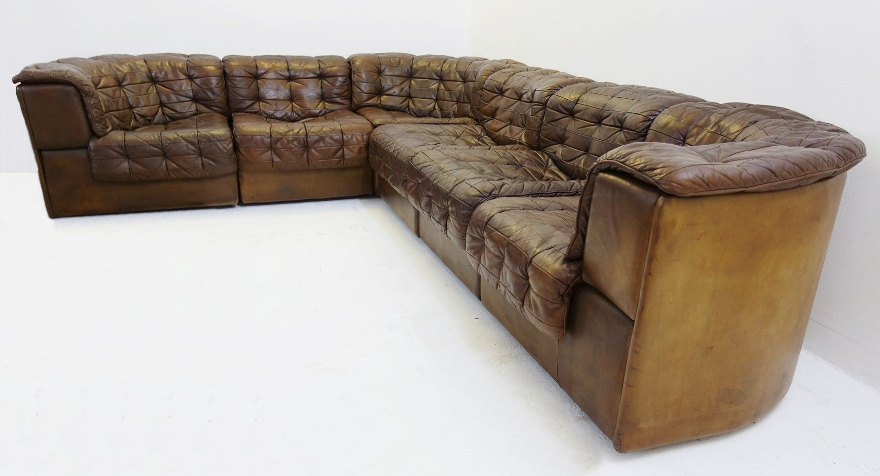 Large Modular Ds 11 Patchwork Leather Sofa From De Sede