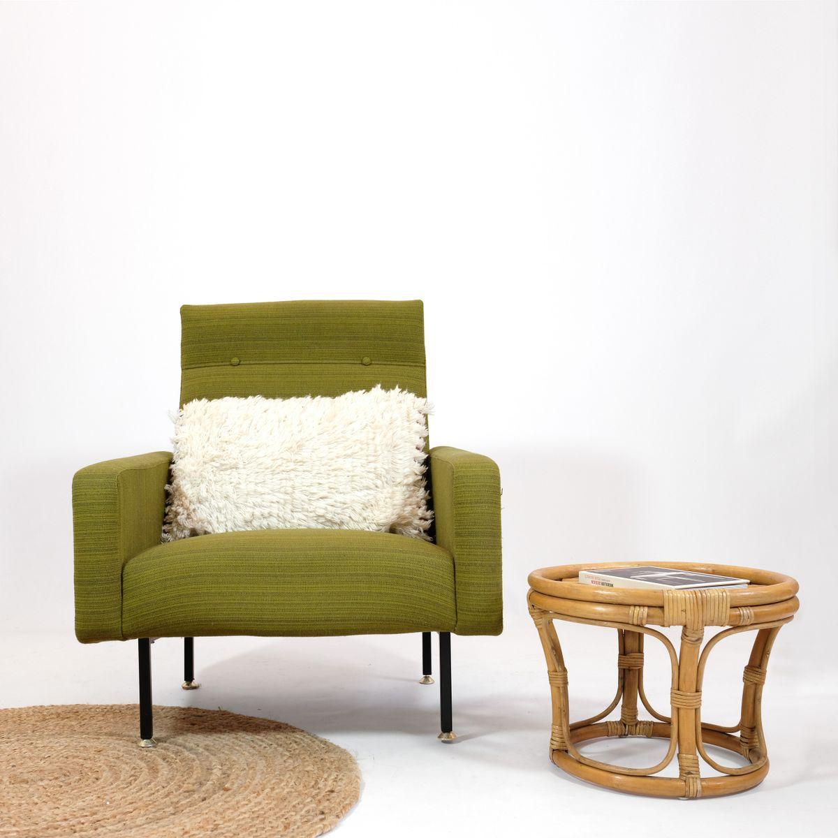 Grüner Sessel von Steiner, 1960er
