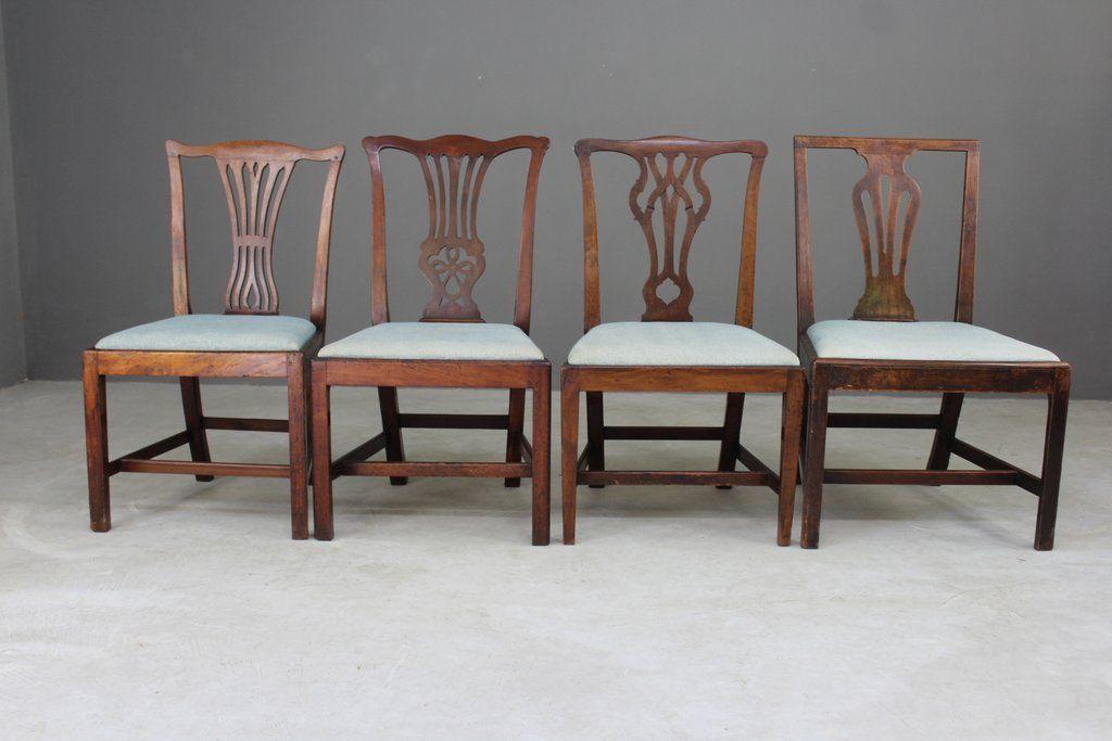 Sedie Stile Chippendale : Sedie da pranzo antico in stile chippendale set di 4 in vendita su