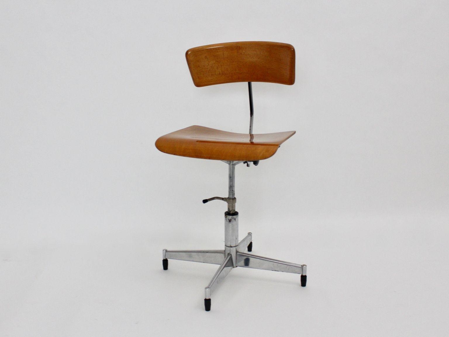Danish Swivel Desk Chair By Jorgen Rasmussen 1950s