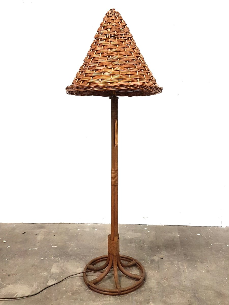 Vintage rattan and wicker floor lamp 1960s