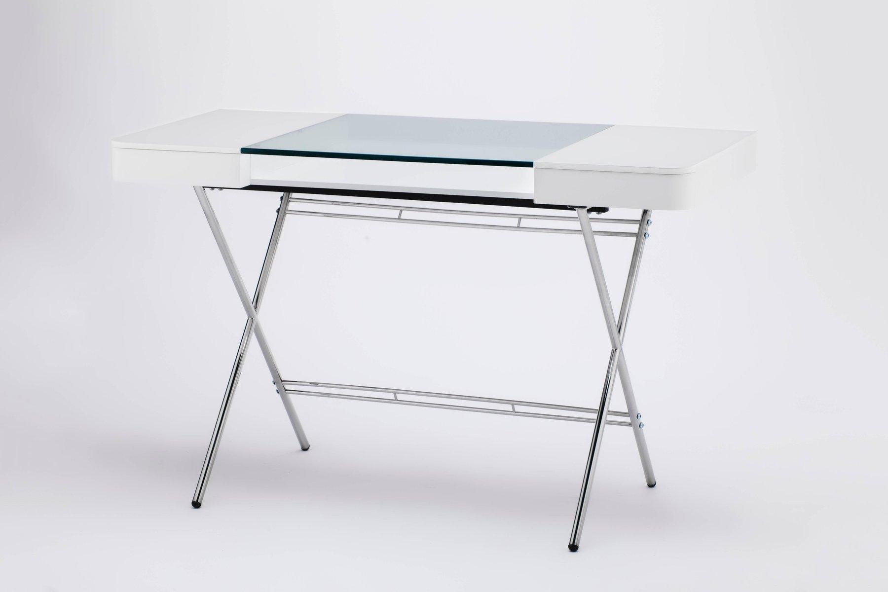 cosimo schreibtisch mit wei er matt lackierter glasplatte von marco zanuso jr f r adentro 2017. Black Bedroom Furniture Sets. Home Design Ideas