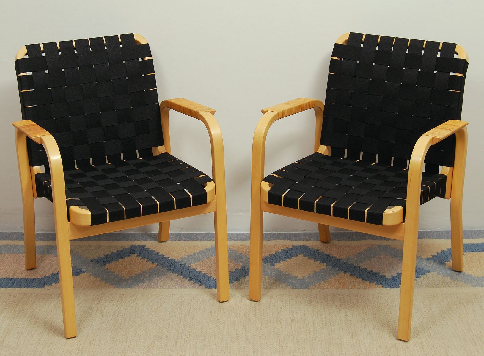 Modell 45 Vintage Sessel von Alvar Aalto für Artek, 2er Set