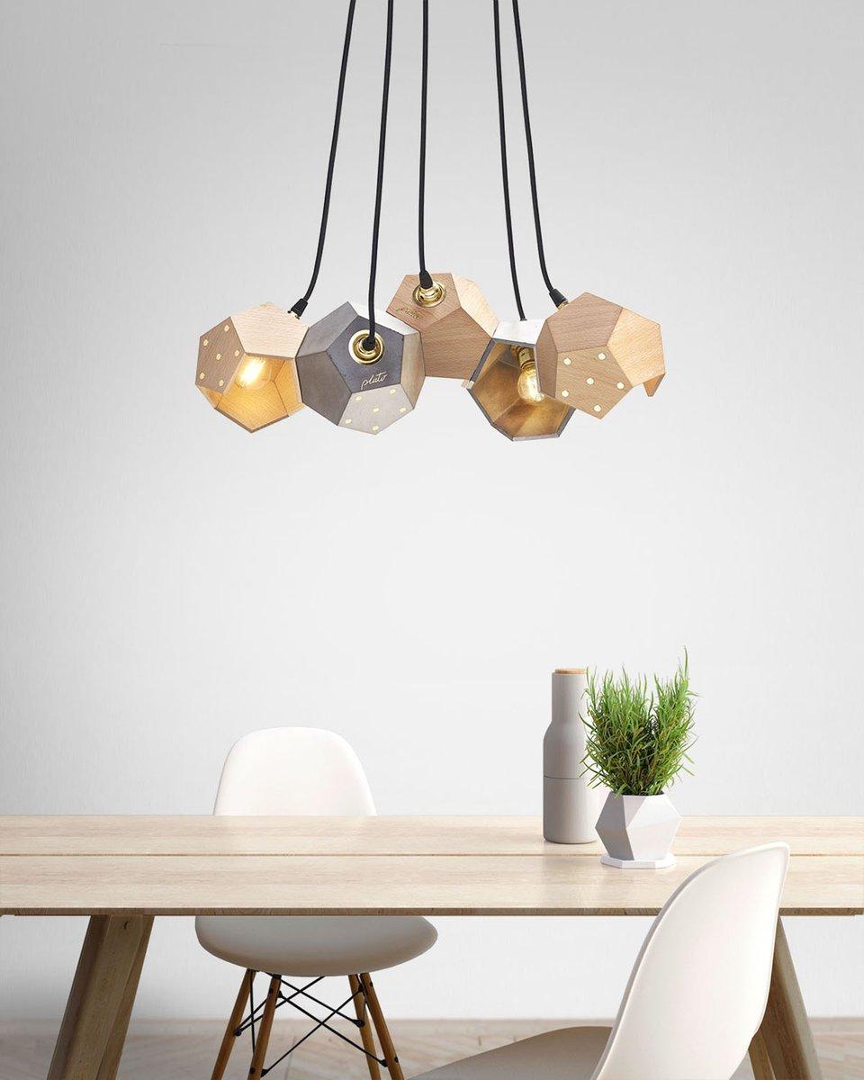 basic twelve quintet h ngelampe aus beton holz von plato design bei pamono kaufen. Black Bedroom Furniture Sets. Home Design Ideas