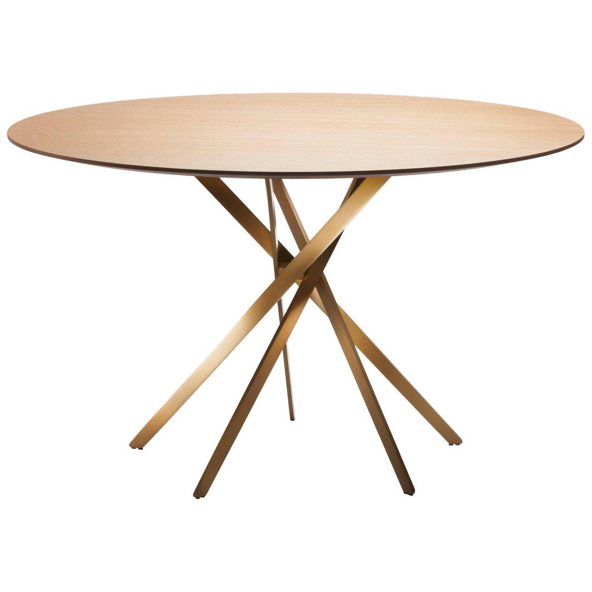 IKI Tisch mit golden-lackiertem Fuß & Furnierplatte aus Eiche von Marc...
