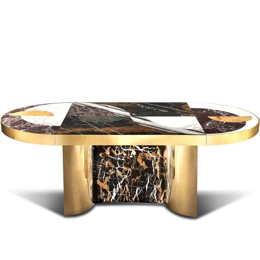 Half Moon Esstisch in Marmor mit Messing von Bohinc Studio