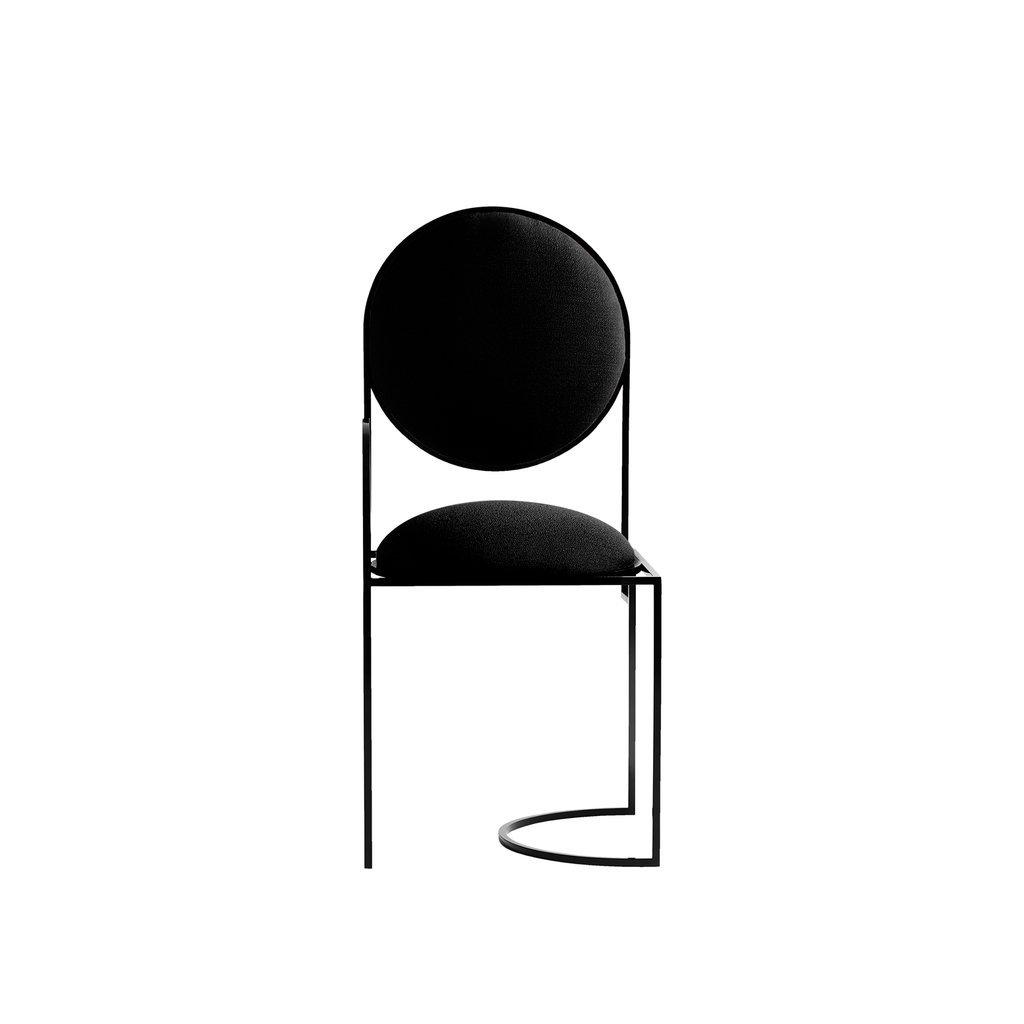 Solar Chair aus Stahl & schwarzer Wolle von Boh...