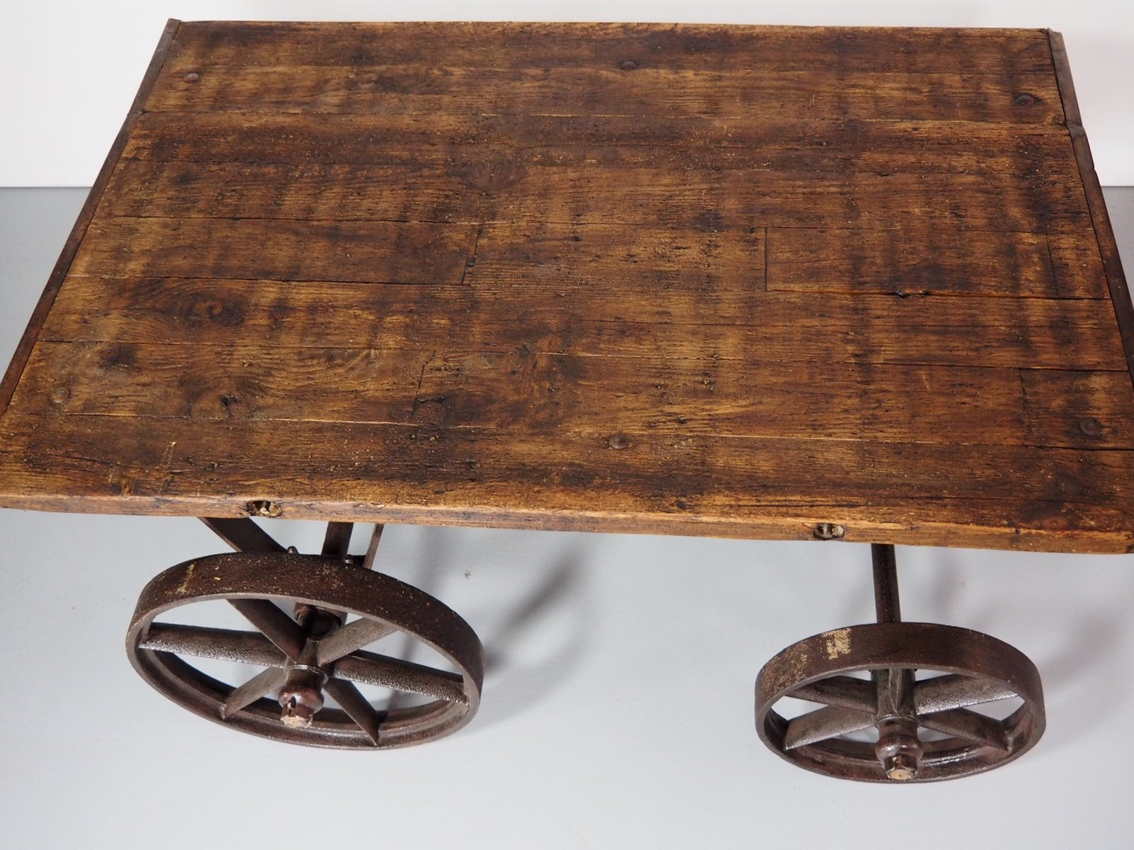 Vintage Industrial Iron Amp Wood Coffee Table For Sale At Pamono