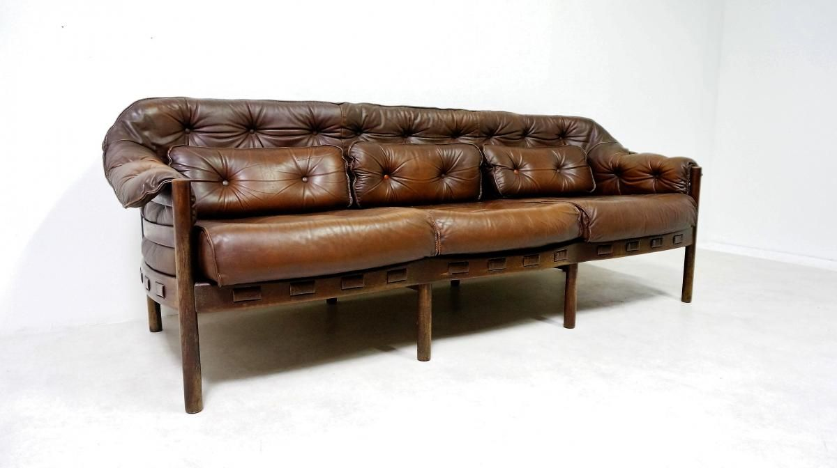 Scandinavian Leather Sofa By Arne Norell For Coja 1950s