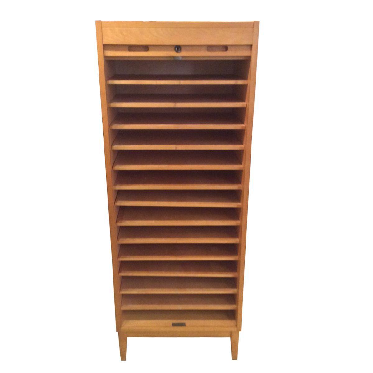Mid Century Oak Tambour Cabinet From Edsby Verken, 1960s
