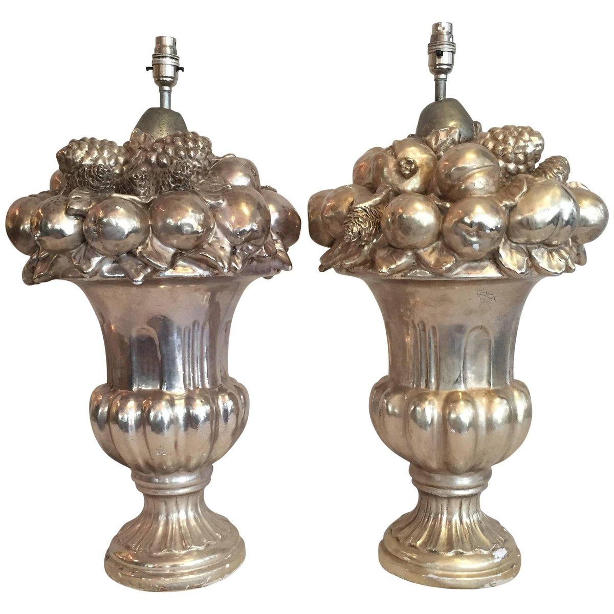Große italienische Tischlampe aus versilberter Keramik, 1970er