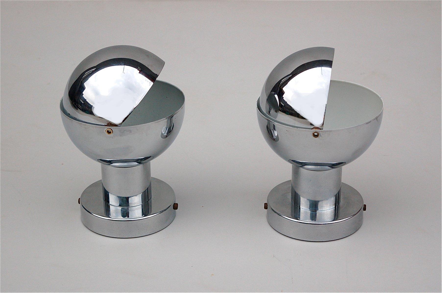 Chromlampen, 1970er, 2er Set