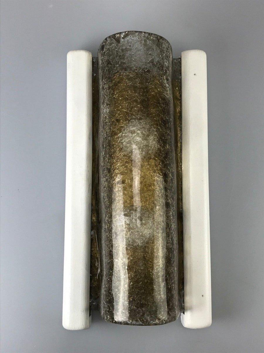 Deutsche Vintage Wandlampe aus Glas & Holz von Fischer Leuchten, 1960e...