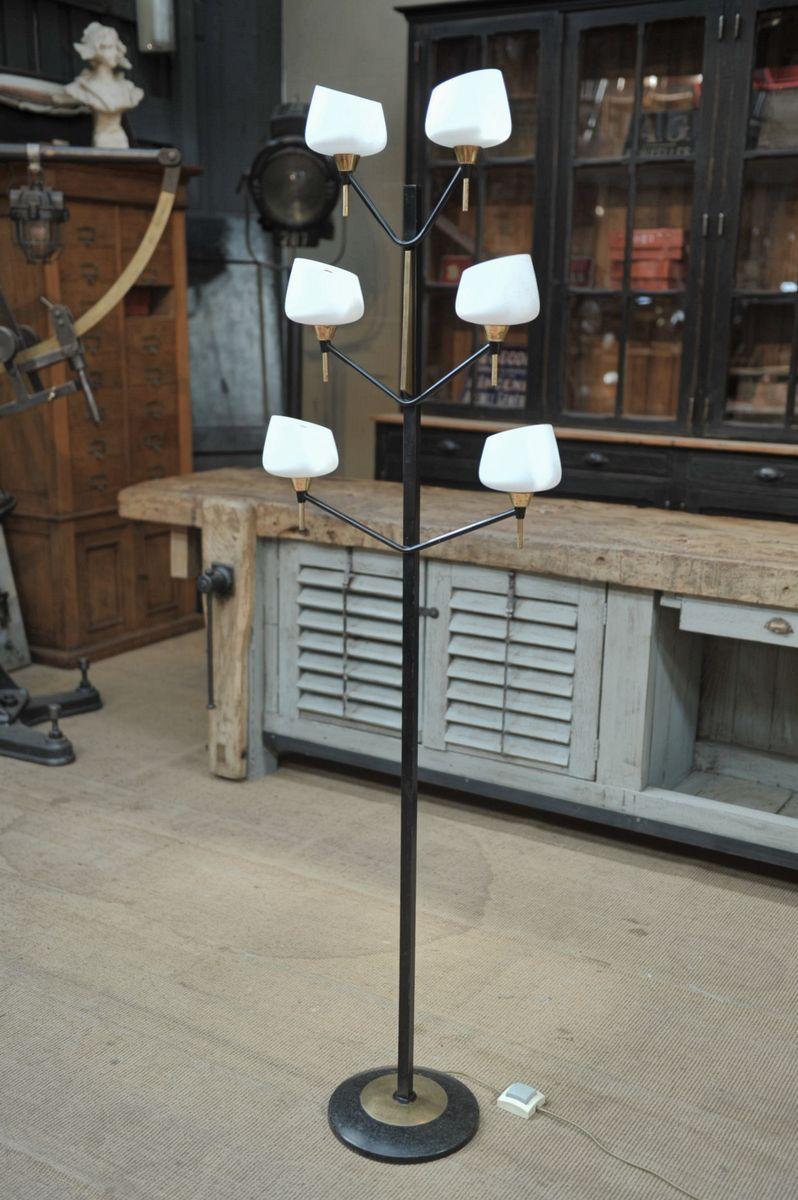 Französische Stehlampe mit 6 Opalglasschirmen von Lunel, 1950er