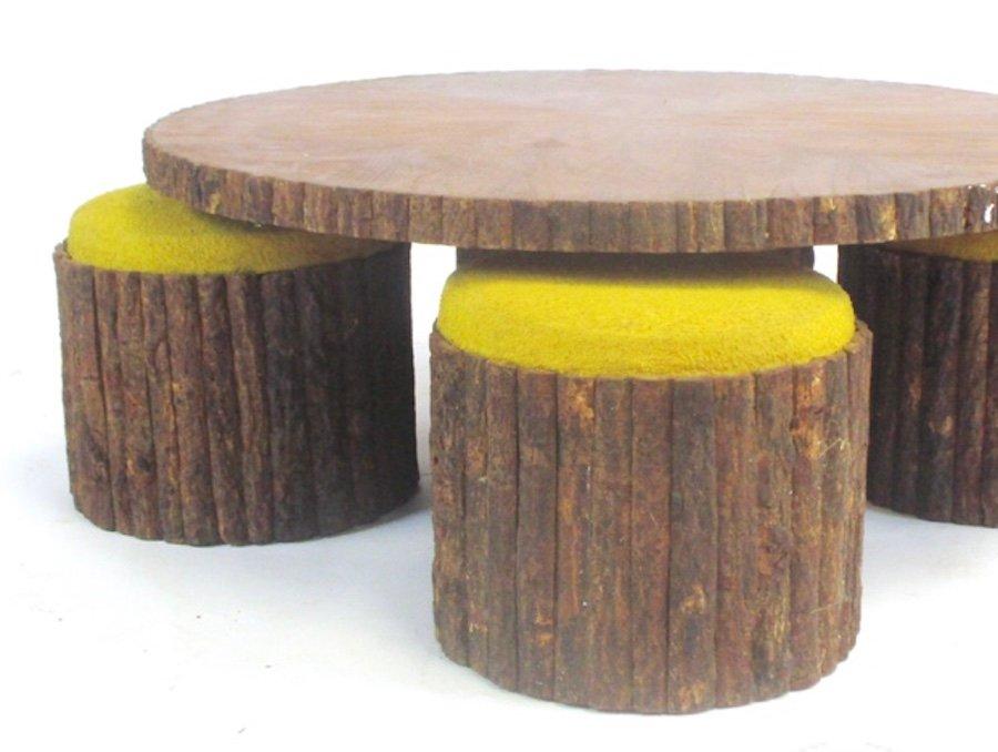 Tavolo basso rotondo con sgabelli anni in vendita su pamono