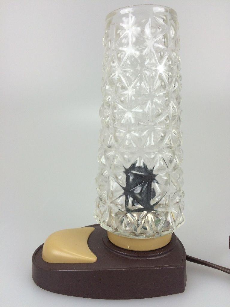 Deutsche Vintage Nachttischlampe aus Kunststoff & Glas, 1960er