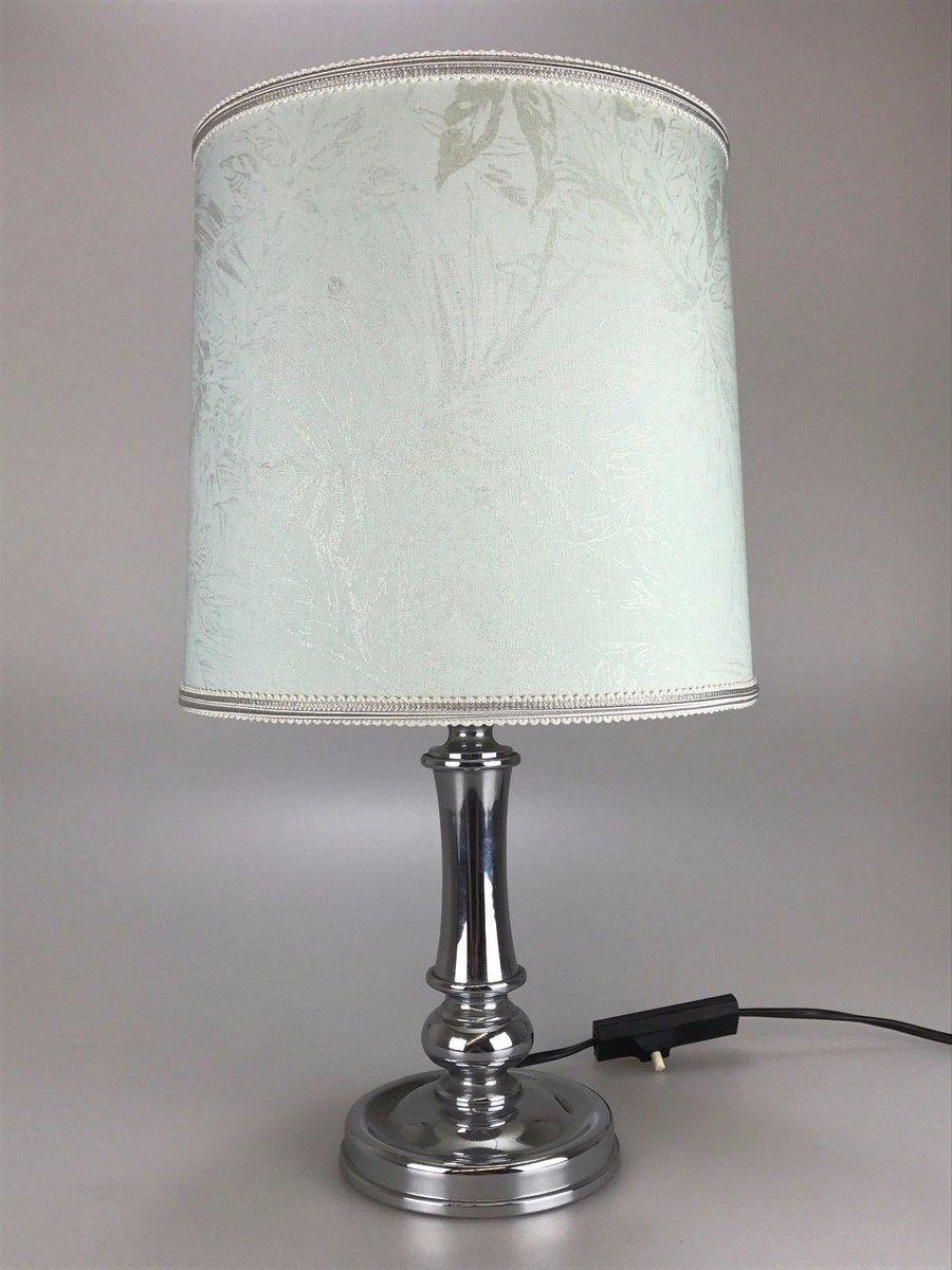 Deutsche Vintage Tischlampe aus Chrom & Stoff, 1960er