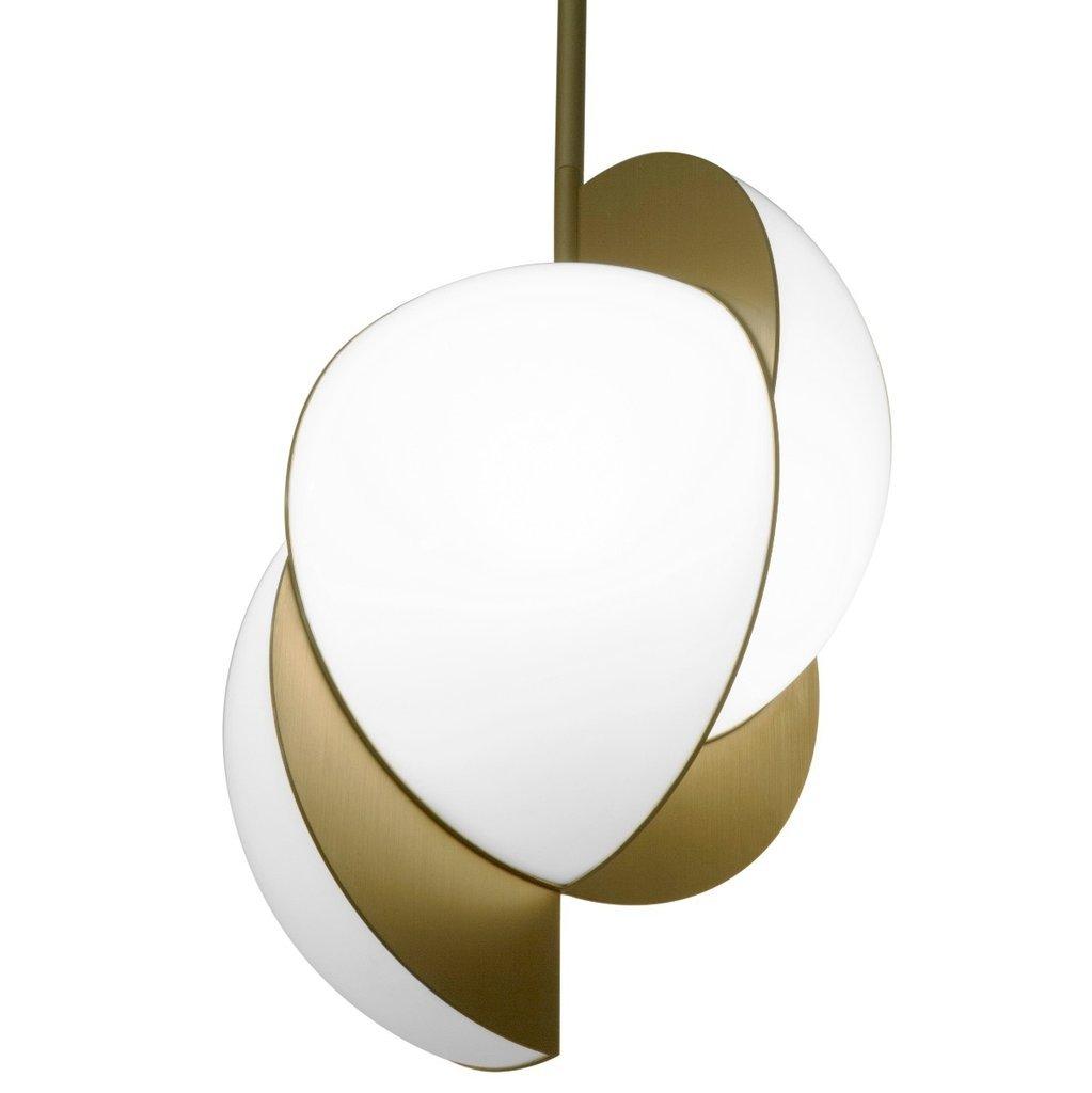 Collision Deckenlampe aus vergoldetem verzinktem Metall mit weißem Acr...