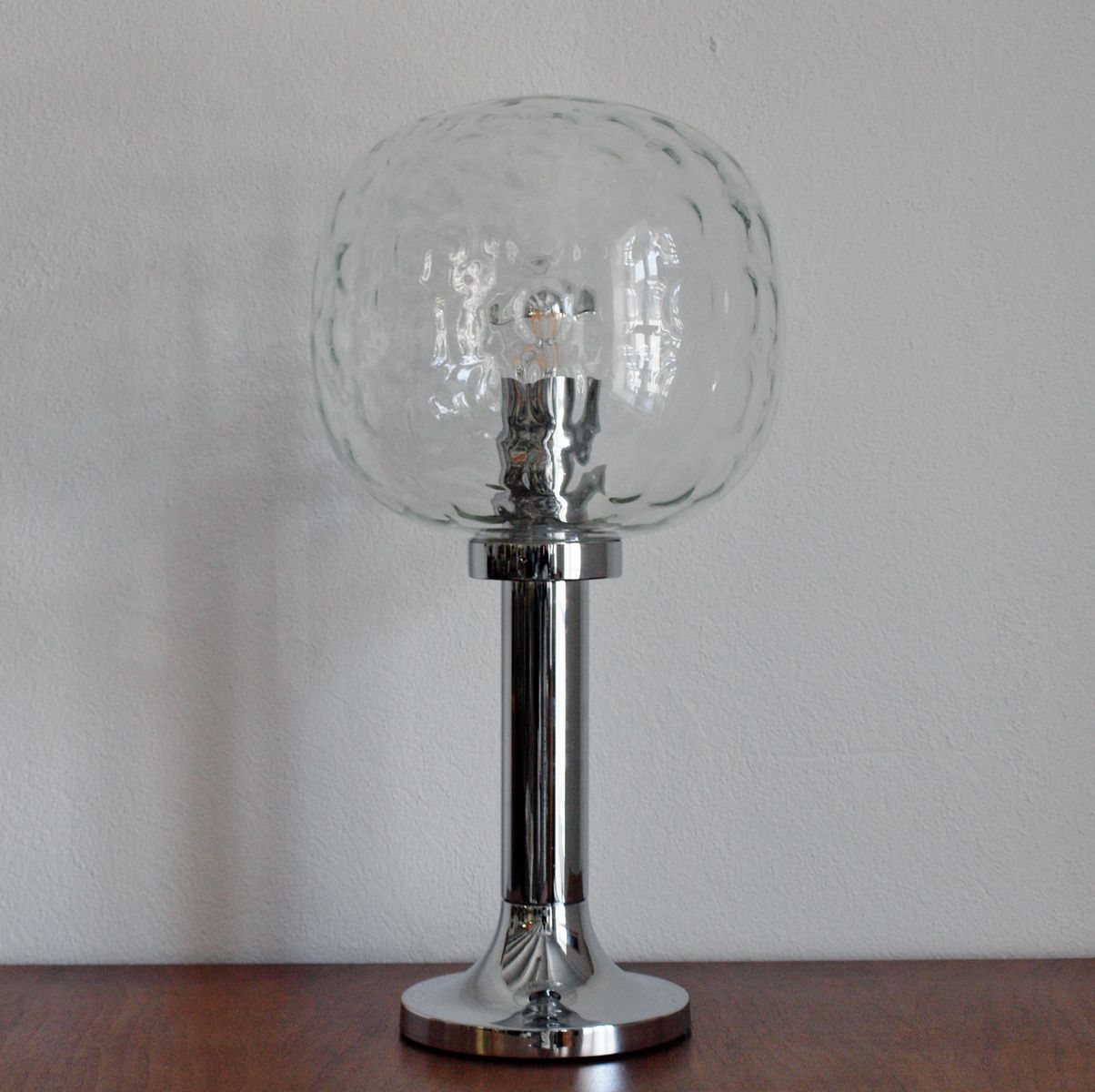 Große Ostdeutsche Tischlampe aus Chrom & Glas, 1970er
