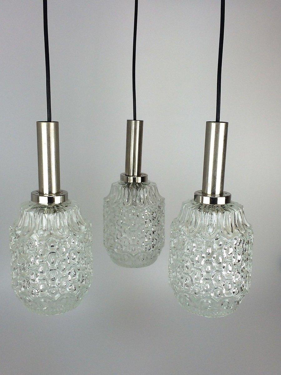 Vintage Kaskadenlampe aus Chrom & Metall mit 3 Birnen, 1960er