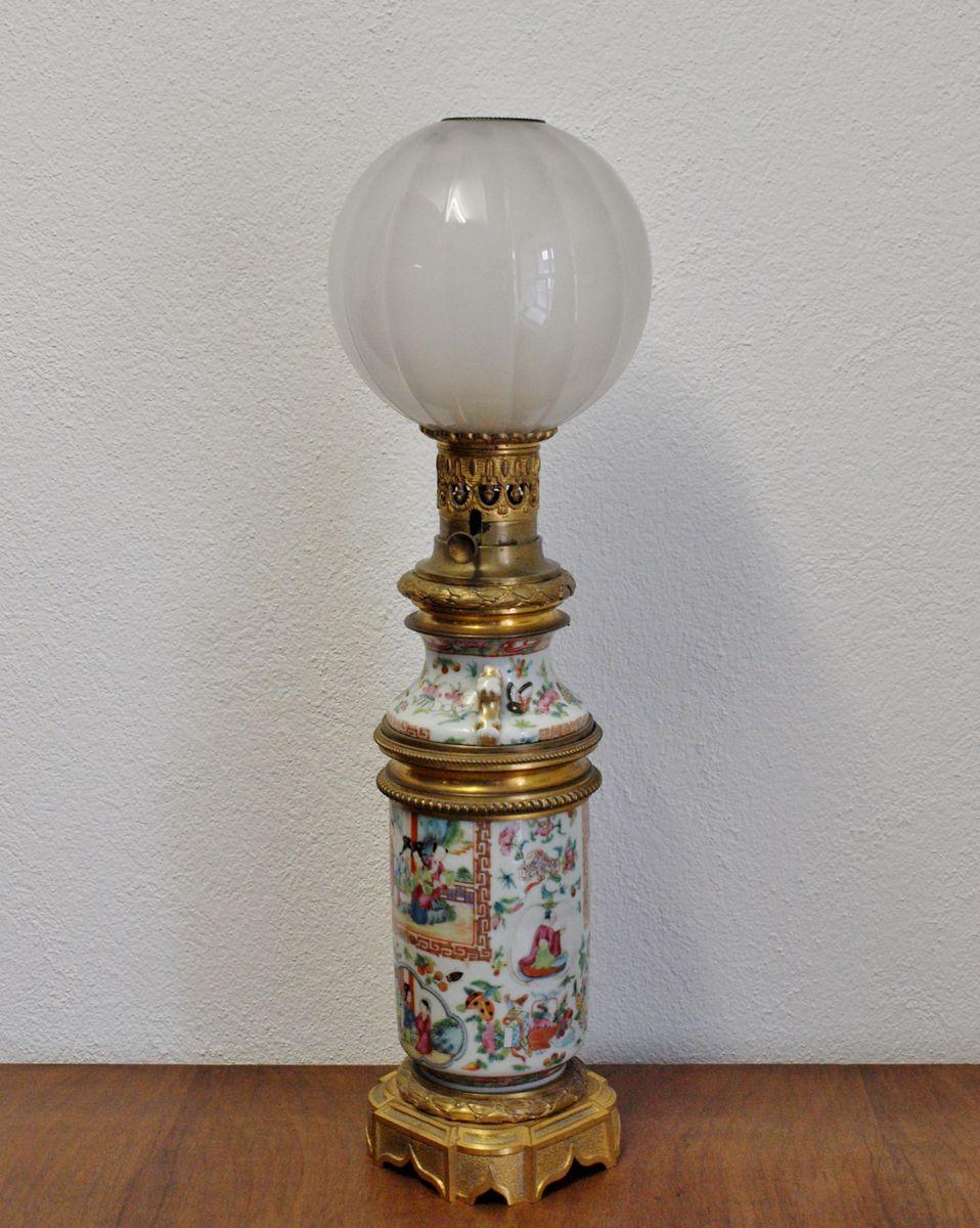 Tischlampe aus handbemaltem Porzellan, 1900er