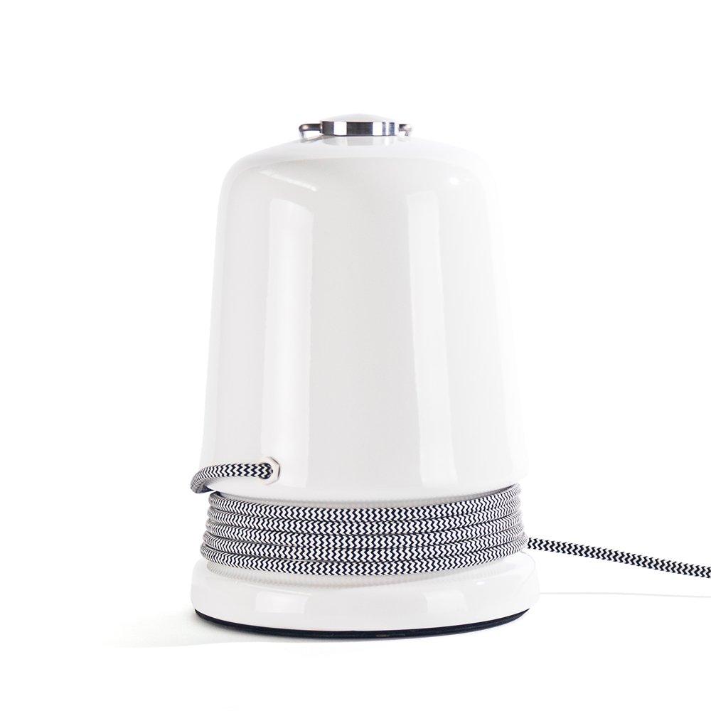 Tischlampe aus lichtdurchlässiger Keramik in Hochglanz mit Kabel von P...