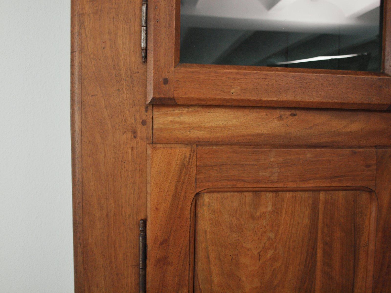 Mobile da cucina biedermeier in legno di noce e vetro