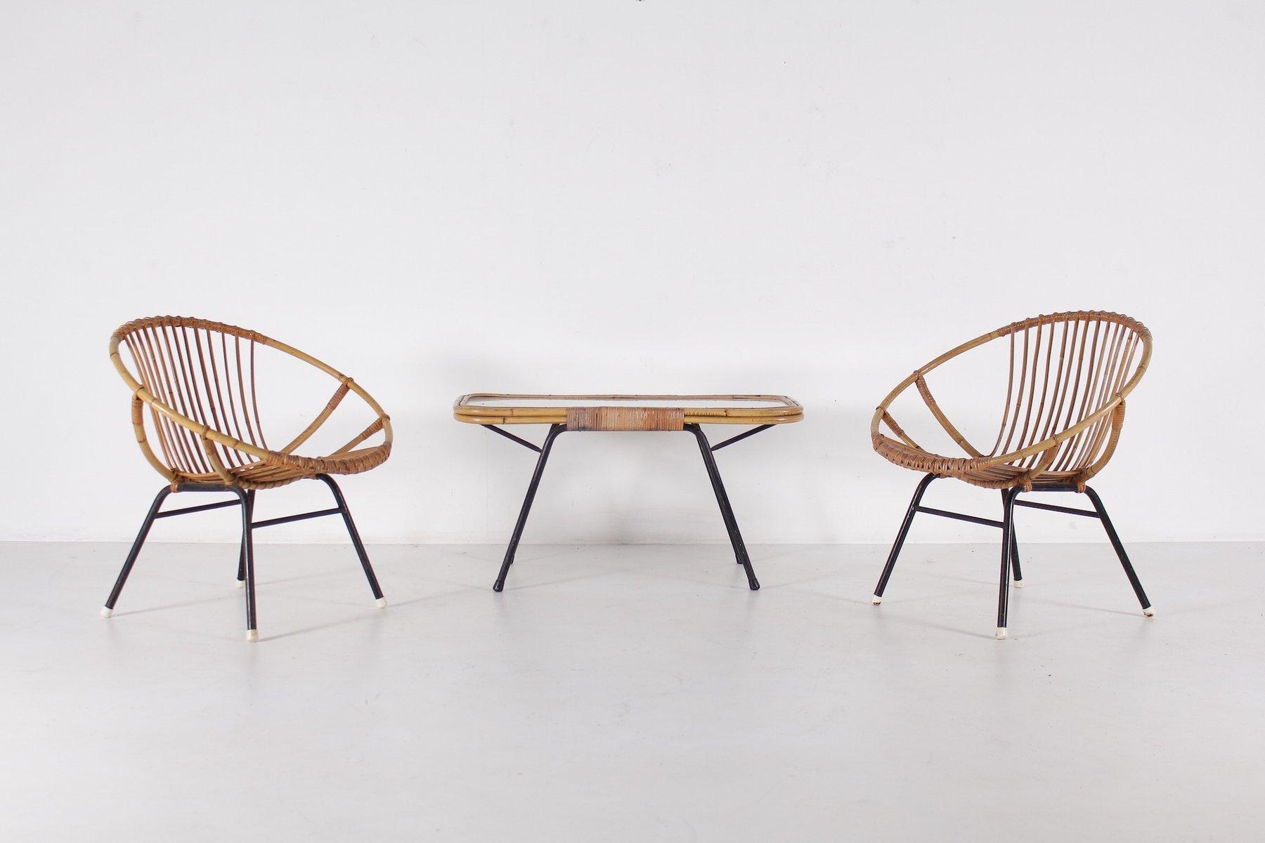 Mid-Century Couchtisch & 2 Stühle von Rohé Noordwolde