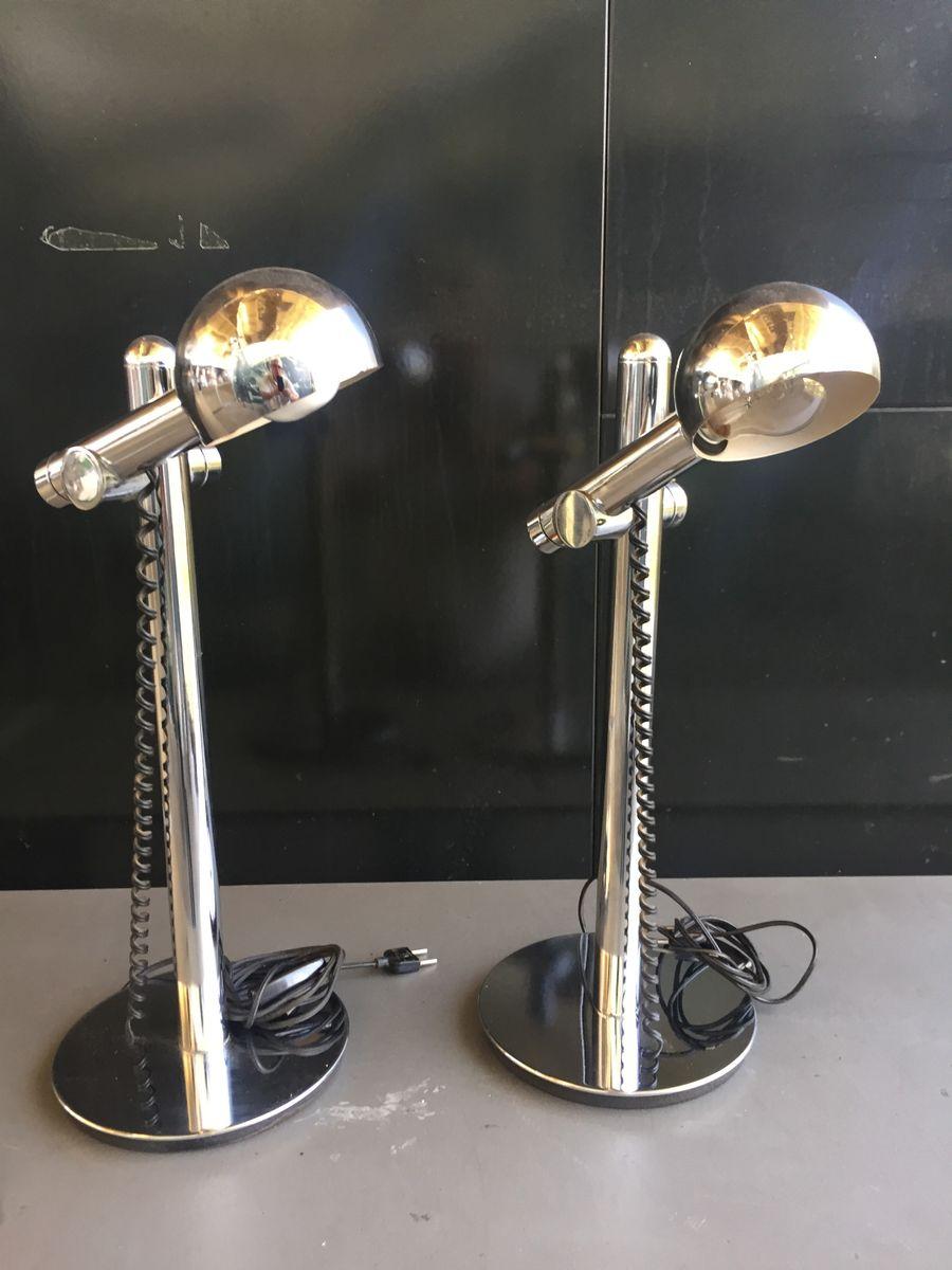 Tischlampen aus verchromtem Metall, 1970er, 2er Set