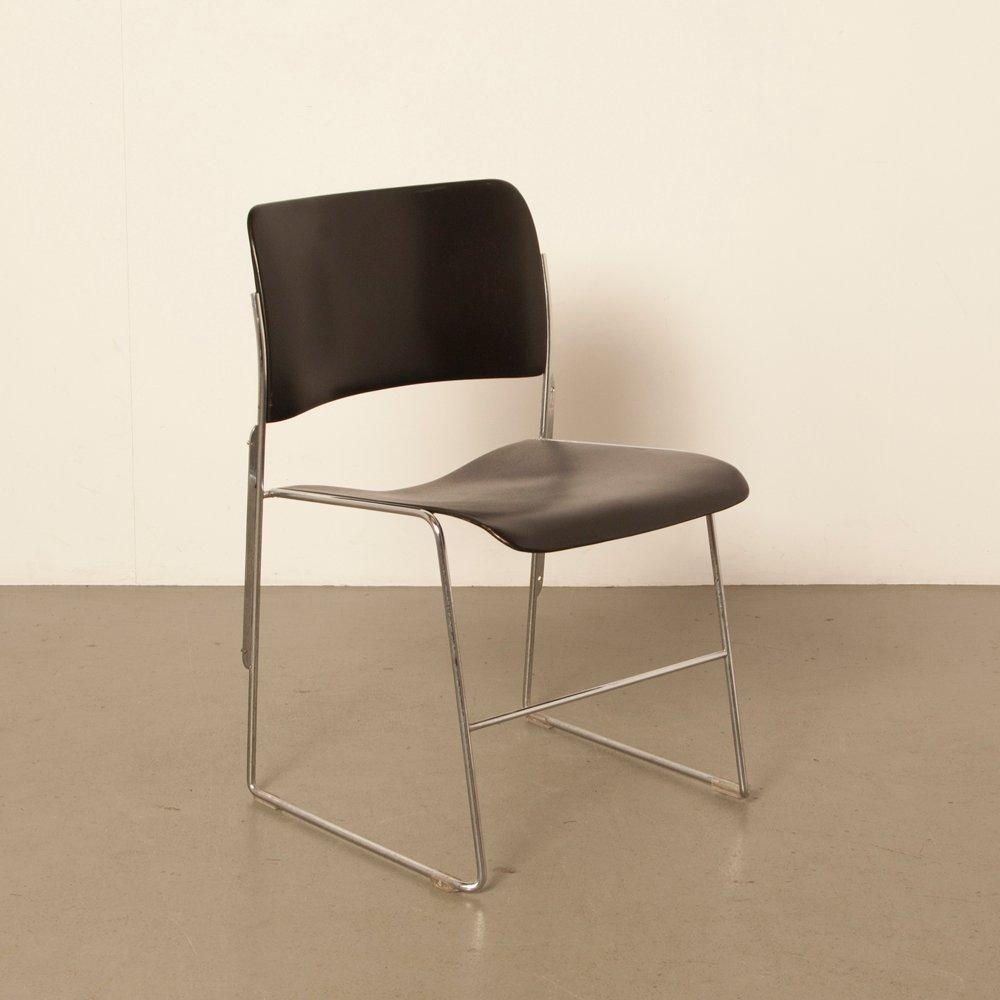 Schwarzer Modell 40/4 Stuhl von David Rowland f...