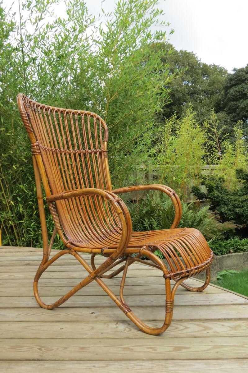 Großer Sessel aus Schilfrohr & Rattan, 1920er