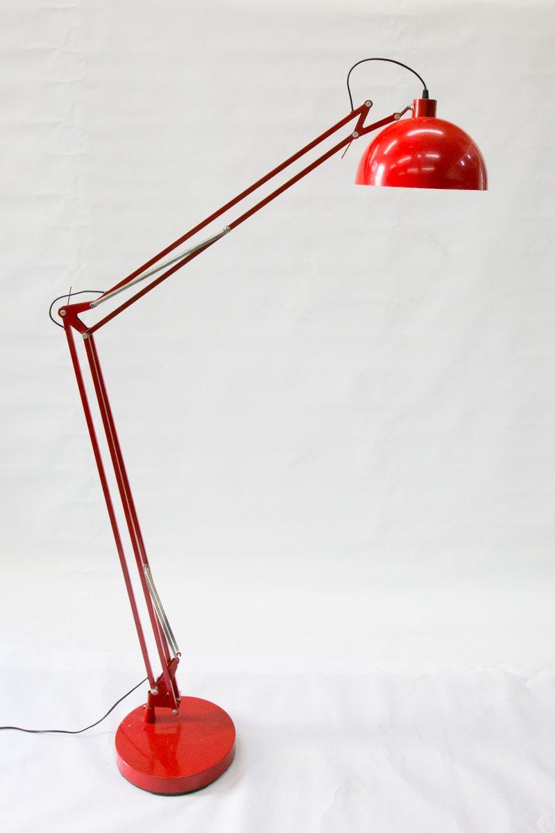 Große Vintage Stehlampe in Rot