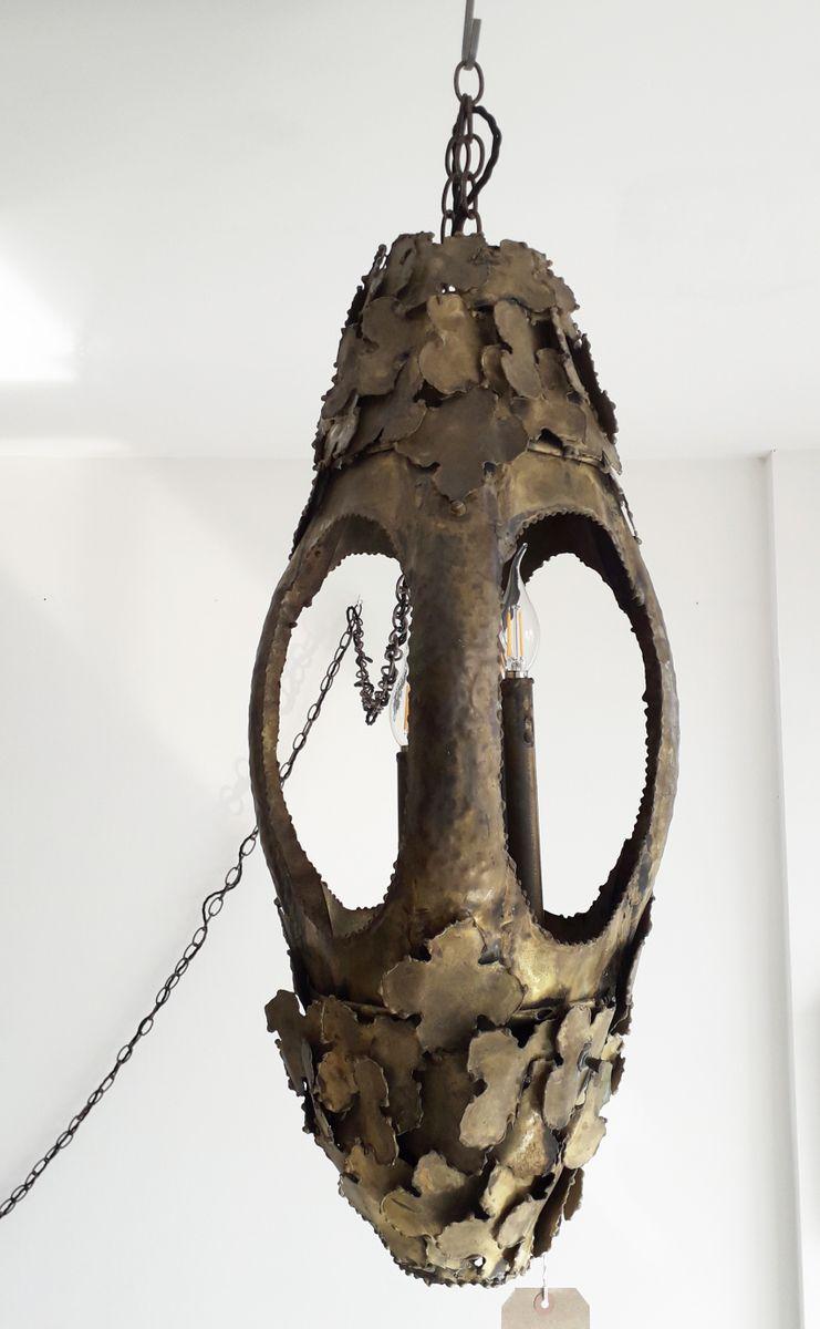 Große brutalistische Hängelampe aus Messing von Tom Greene, 1960er