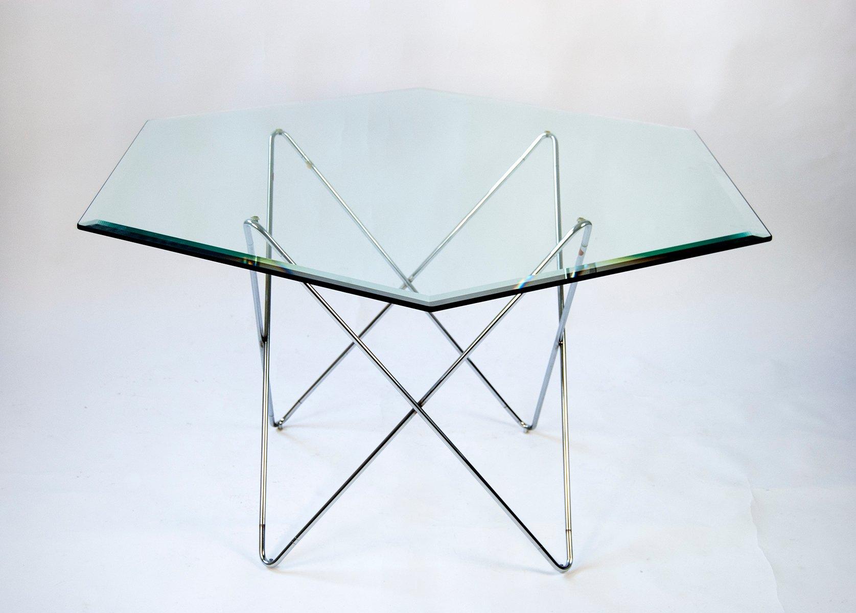 sechseckiger esstisch aus glas 1970er bei pamono kaufen. Black Bedroom Furniture Sets. Home Design Ideas