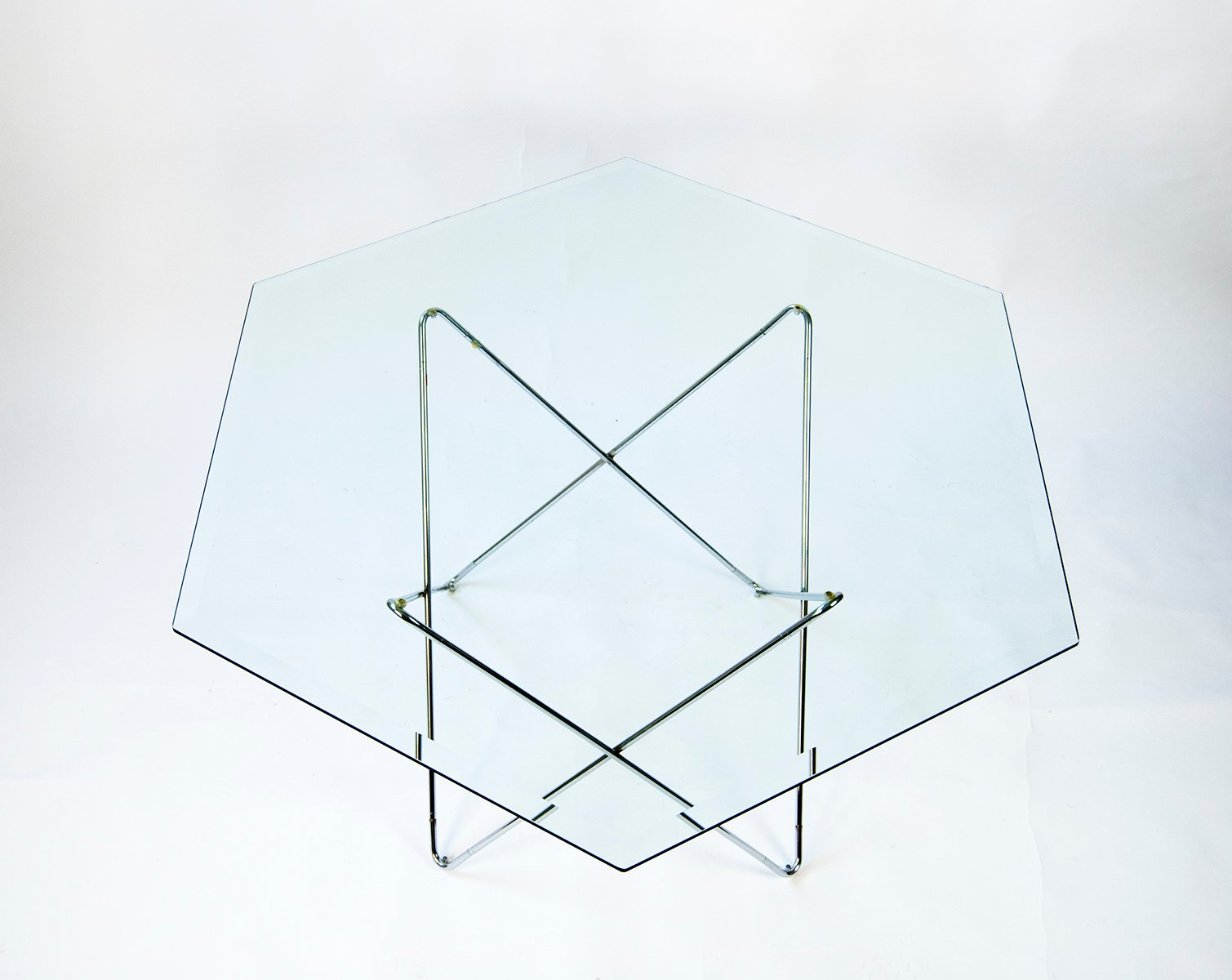 Hexagon Glass Dining Table 1970s For Sale At Pamono