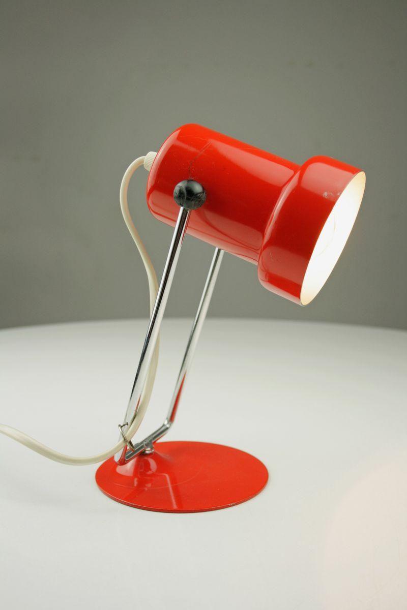 Orangerote Nachttischlampe, 1970er