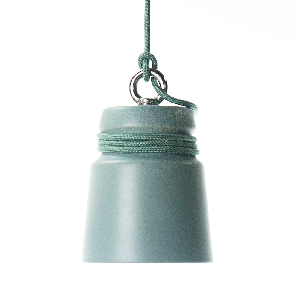 Kleine Lampe aus mattem grün glasiertem Steingut mit Kabel von Patrick...