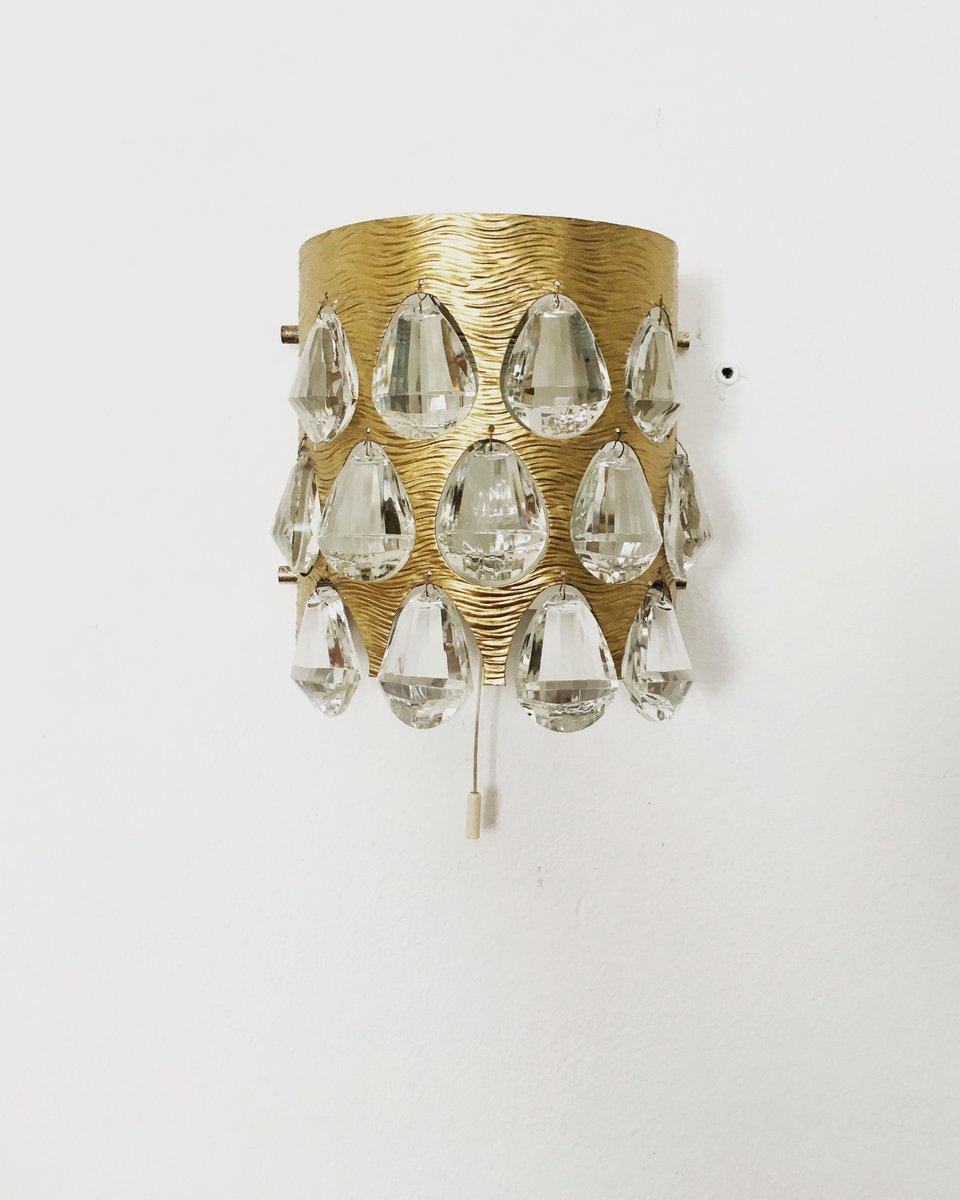 Wandlampe aus Kristallglas von Palwa, 1960er