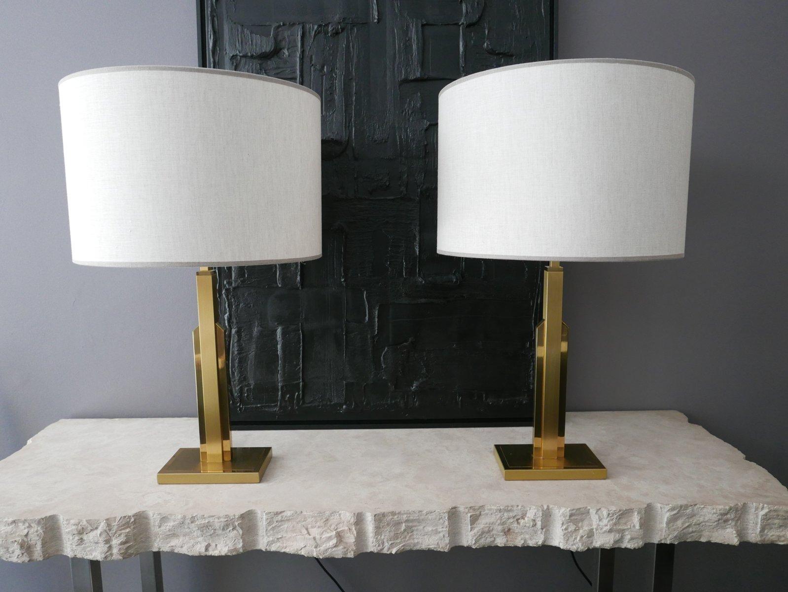 Französische Messinglampen mit Leinenschirm, 2er Set