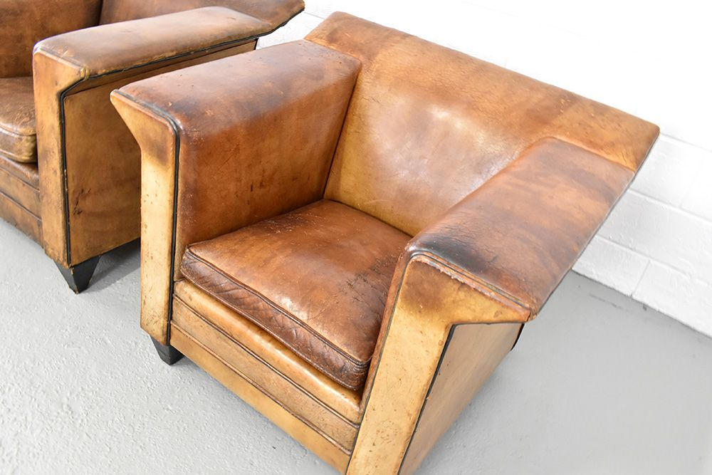 Leather lounge chairs by bart van bekhoven s set of bei