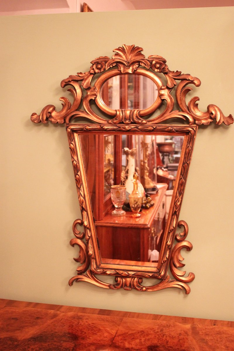 vintage spiegel mit holzrahmen bei pamono kaufen. Black Bedroom Furniture Sets. Home Design Ideas