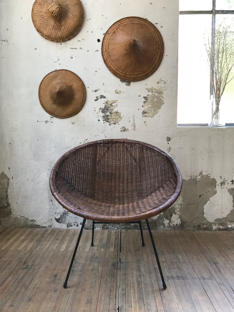 Sessel aus Rattan & Metall, 1960er, 2er Set