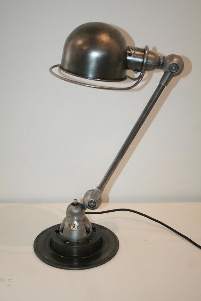 Industrielle graphitfarbene Vintage Lampe von Jean-Louis Domecq für Ji...