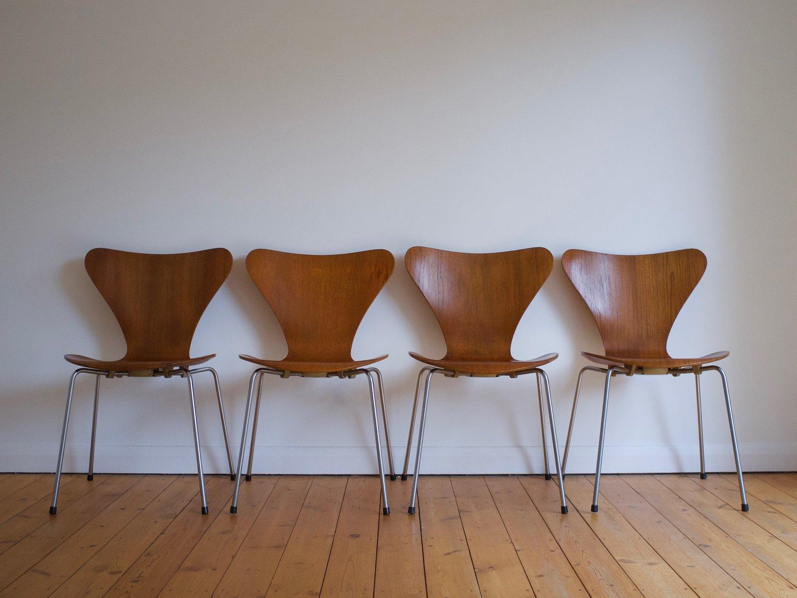 7 Vintage 3107 Serie Teakstühle Von Arne Jacobsen Für Fritz Hansen