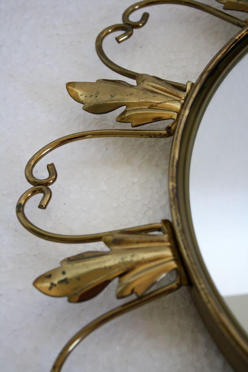Vintage spiegel mit messingrahmen in sonnen optik 1960er for Spiegel mit messingrahmen