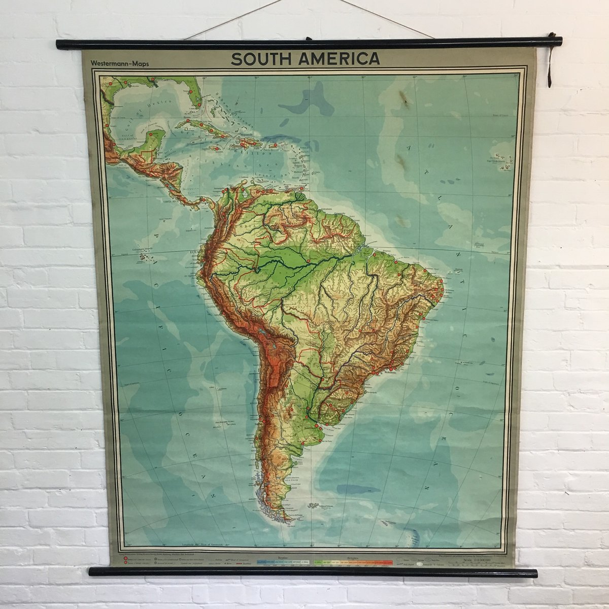 Vintage School Wall Map of South America from Westermann bei Pamono ...